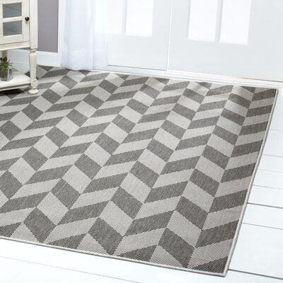 Geometric Black/Gray Indoor/Outdoor Area Rug Rug Size: Rectangle 79 x 102