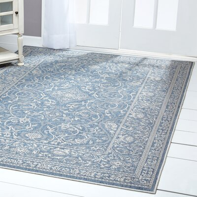 Transitional Blue/Gray Indoor/Outdoor Area Rug Rug Size: Rectangle 52 x 72