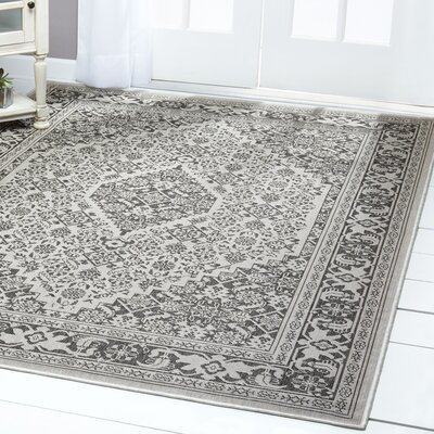 Persian Gray/Black Indoor/Outdoor Area Rug Rug Size: Rectangle 52 x 72