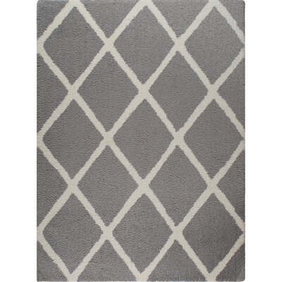 Hennings Diamond Ivory/Gray Area Rug Rug Size: Rectangle 92 x 126