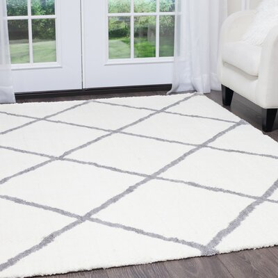 Hennings Diamond Ivory/Gray Area Rug Rug Size: Rectangle 710 x 102