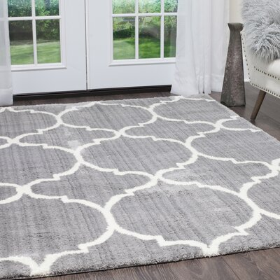 Hennings Trellis Shag Gray/Ivory Area Rug Rug Size: Rectangle 52 x 72