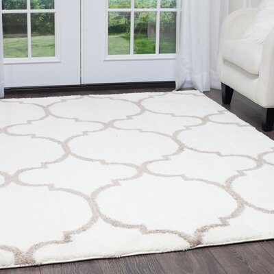 Hennings Trellis Shag Ivory/Taupe Area Rug Rug Size: Rectangle 27 x 47