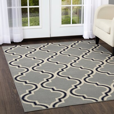 Premium Trellis Silver/Gray Area Rug Rug Size: Rectangle 37 x 52