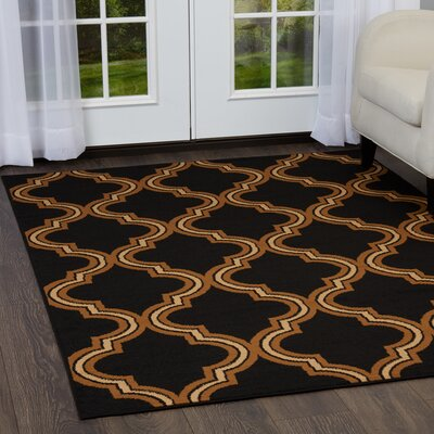Simona Trellis Ebony Area Rug Rug Size: Rectangle 37 x 52