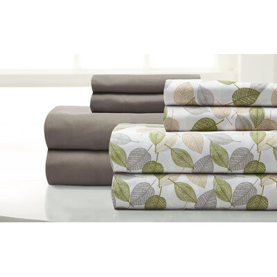 Fransen Falling Leaves 8 Piece Microfiber Sheet Set Size: King, Color: Fern Green