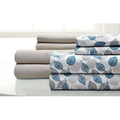 Fransen Falling Leaves 8 Piece Microfiber Sheet Set Size: California King, Color: Blue Coral