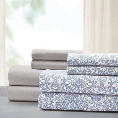 Jennings Way 8 Piece Microfiber Sheet Set Size: King, Color: Dusty Blue
