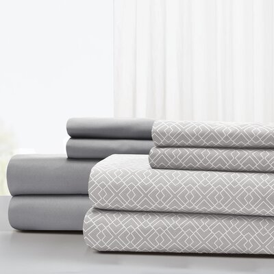 Magill Microfiber Sheet Set Size: King, Color: Gray
