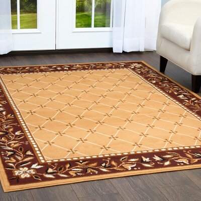 Chaudhry Classic Border Red Area Rug Rug Size: Rectangle 52 x 74