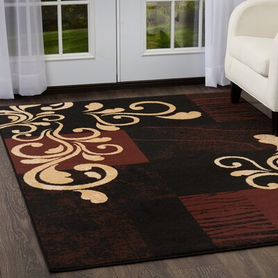 Simona Scroll Black Area Rug Rug Size: Rectangle 52 x 74