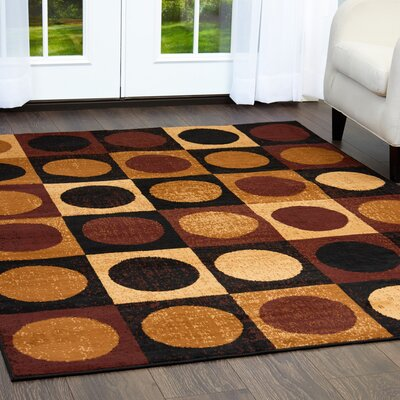 Simona Geometric Brown/Black Area Rug Rug Size: Rectangle 52 x 74