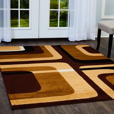 Simona Contemporary Brown/Black Area Rug Rug Size: Runner 19 x 72