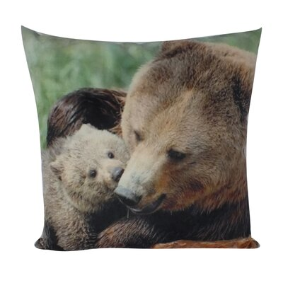 Stepney Grizzly Mom & Cub Velvet Throw Pillow