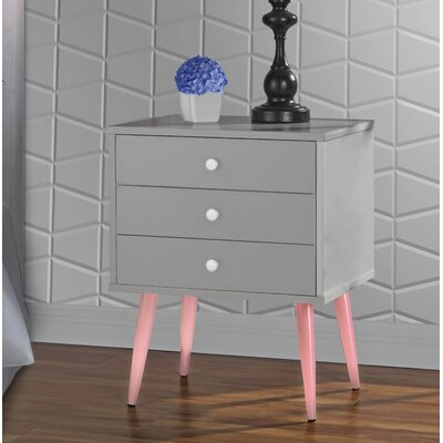 Dimartino Mid Century 3 Drawer Nightstand Color: Gray