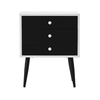 Dimartino Mid Century 3 Drawer Nightstand Color: White/Black