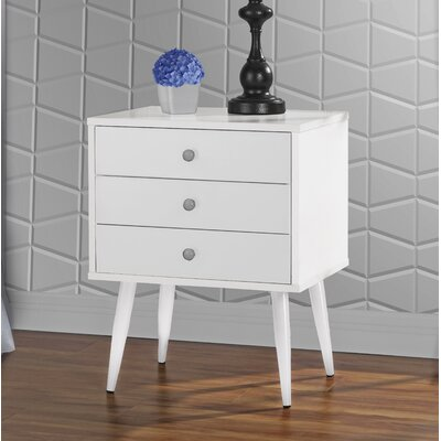 Dimartino Mid Century 3 Drawer Nightstand Color: White