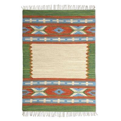 Parkland Handmade Dhurrie Wool Beige/Green Area Rug