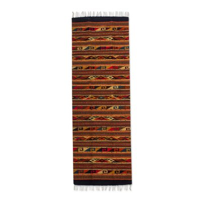 Parmley Life in Oaxaca Zapotec Handmade Dhurrie Wool Brown Area Rug