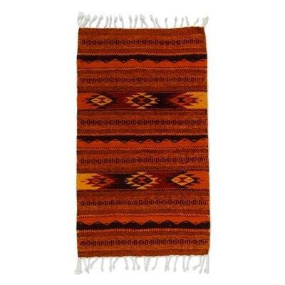 Parodi Meteors Zapotec Handmade Dhurrie Wool Red Area Rug