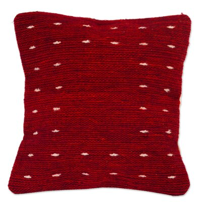 Mays Mexico Dotted Passion Wool Pillow Cover Color: Red