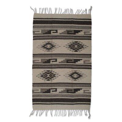 Parra Ancestral Pride Handmade Dhurrie Wool Dark Brown Area Rug