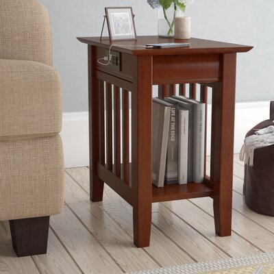 Danube End Table with Storage Color: Walnut
