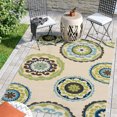 Capri Beige/Green Indoor/Outdoor Area Rug Rug Size: Rectangle 53 x 76