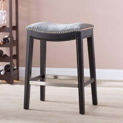 Henninger Bar Stool Upholstery: Gray, Finish: Black, Nailhead Finish: Silver