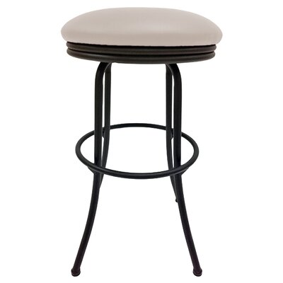Podington 35 Swivel Bar Stool Frame Color: Black, Seat Color: Ocean Beige