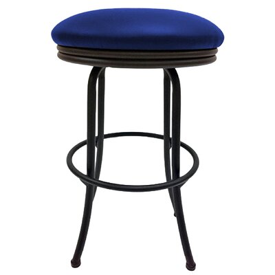Podington 26 Swivel Bar Stool Frame Color: Black, Seat Color: Blue