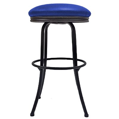 Podington 33 Swivel Bar Stool Frame Color: Black, Seat Color: Blue