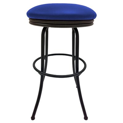 Podington 35 Swivel Bar Stool Frame Color: Black, Seat Color: Blue