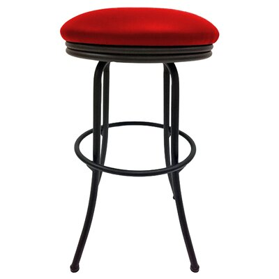 Podington 35 Swivel Bar Stool Frame Color: Black, Seat Color: Fire Red