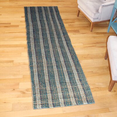 Koleby Striped Hand-Woven Teal Area Rug Rug Size: Runner 23 x 8