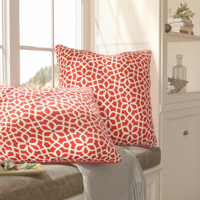 Nelida Embroidered Chain Stitch Throw Pillow Color: Coral