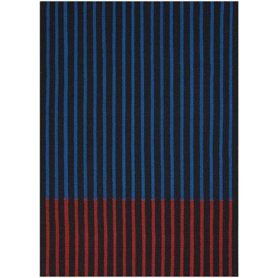 Nashville Modern Hand-Woven Black/Cobalt/Magenta Area Rug Rug Size: Rectangle 5 x 7