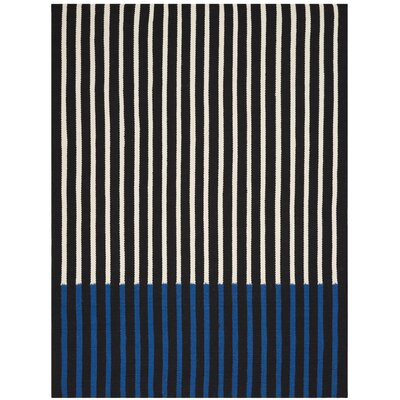 Nashville Modern Hand-Woven Ivory/Black/Cobalt Area Rug Rug Size: Rectangle 5 x 7