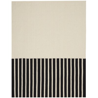 Nashville Modern Hand-Woven Ivory/Black Area Rug Rug Size: Rectangle 8 x 10