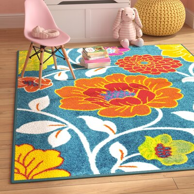 Juliet Daisy Blue Area Rug Rug Size: Rectangle 5 x 7
