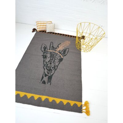 One-of-a-Kind Dromore Giraffe Hand-Woven Wool Gray Area Rug