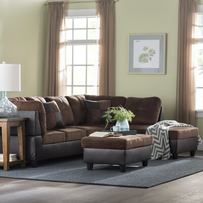Russ Sectional with Ottoman Upholstery: Dark Brown, Orientation: Right Hand Facing