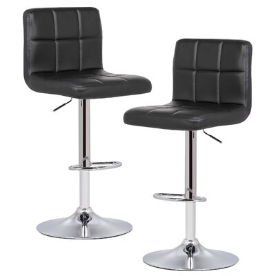 Winchell Adjustable Height Swivel Bar Stool Upholstery: Black
