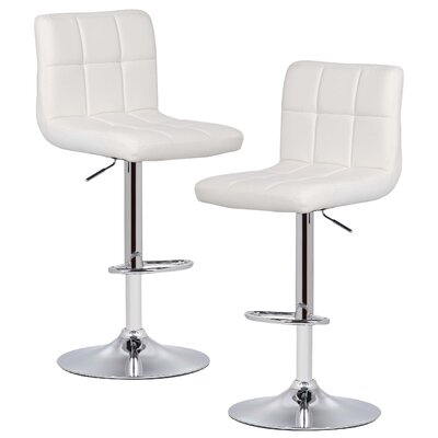 Winchell Adjustable Height Swivel Bar Stool Upholstery: White