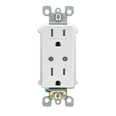 Decora Smart 15 Amp Tamper Resistant Split Duplex Receptacle Wall Mounted Outlet with Z-Wave Plus Technology