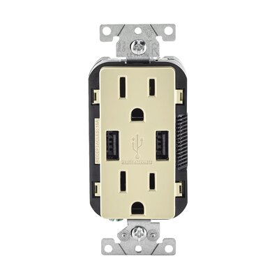 15-Amp USB Charger/Tamper Resistant Duplex Receptacle Wall Mounted Outlet