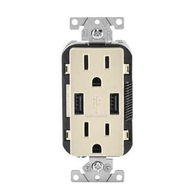 15-Amp USB Charger/Tamper Resistant Duplex Receptacle Wall Mounted Outlet Finish: Light Almond