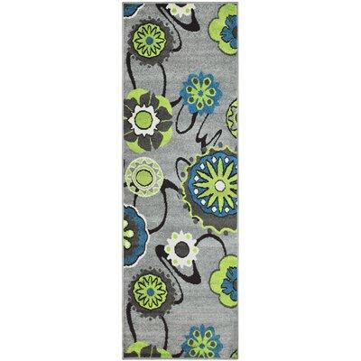 Caldello Designer Gray/Green Area Rug Rug Size: Runner 27 x 8