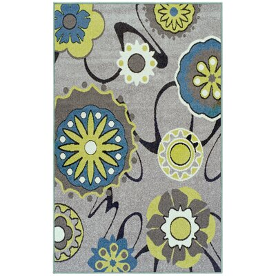 Caldello Designer Gray/Green Area Rug Rug Size: Rectangle 4 x 6