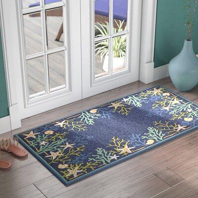 Rundall Sea Water Hand-Hooked Blue Indoor/Outdoor Area Rug Rug Size: Runner 26 x 86